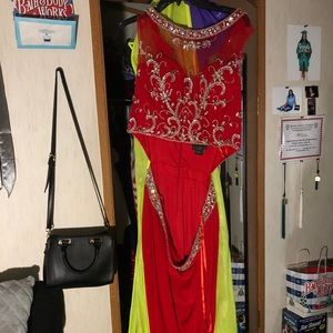 red prom dress with rhinestones & earrings